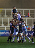 Rugby Union - 2020 / 2021 ERRC Challenge Cup - Newcastle Falcons vs Cardiff Blues - Kingston Park<br /> <br /> Darren Barry of Newcastle Falcons wins a line out<br /> <br /> COLORSPORT/BRUCE WHITE