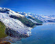 Alaska. Prince William Sound. Chugach Mts. Tidal glaciers in College Fjord. Glacier names from left: Mawr, Smith, Baltimore and Harvard