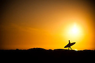 Surfer at Sunset near Steamers Lane at the O'Neill Coldwater Classic