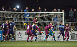 Arbroath's Ryan McCord (8) scoring their goal. Forfar Athletic 0 v 1 Arbroath, Scottish Football League Division Two game played 10/12/2016 at Station Park.