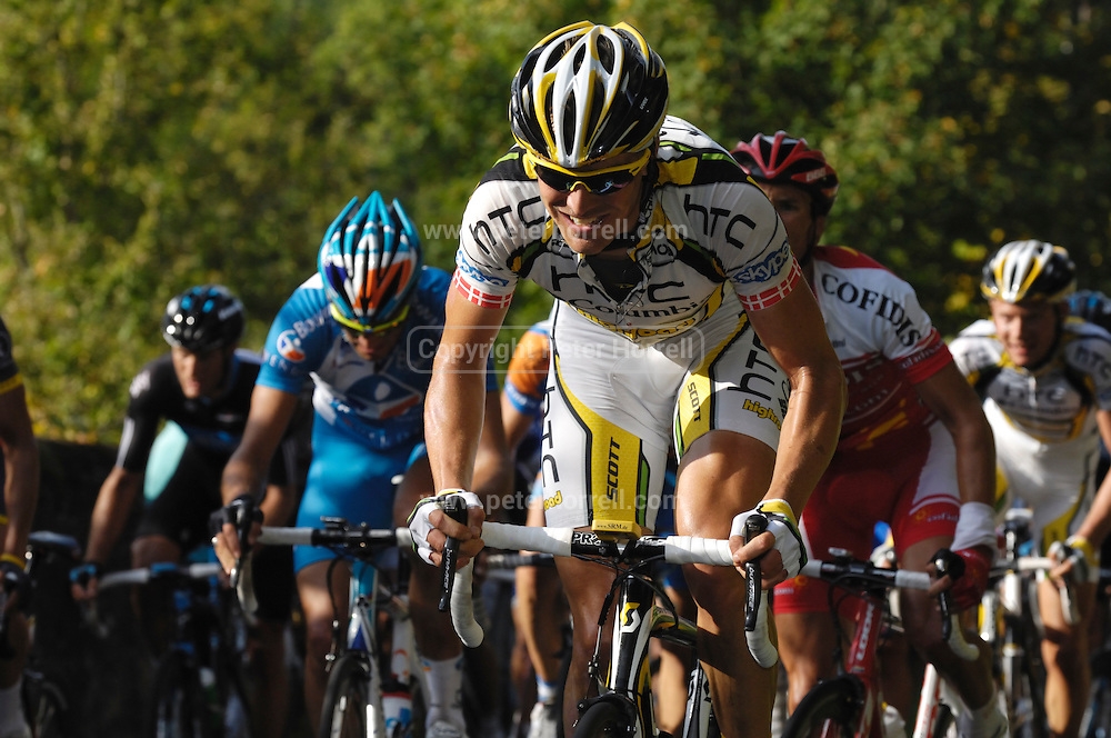 France, October 10 2010: A TEAM HTC - COLUMBIA (THR) rider climbs the  Côte de l'Epan during the 2010 Paris Tours cycle race.  Copyright 2010 Peter Horrell
