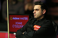 Ronnie O'Sullivan (Eng) looking on from his chair. Ronnie O'Sullivan (Eng) v Joe Perry (Eng), the Masters Final at the Dafabet Masters Snooker 2017, at Alexandra Palace in London on Sunday 22nd January 2017.<br /> pic by John Patrick Fletcher, Andrew Orchard sports photography.