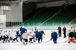"Matjaz Kopitar, head coach talks to his players during practice session of Slovenian Ice Hockey National team before ""Beat Covid-19 Ice Hockey Tournament"", on May 12, 2021 in Hala Tivoli, Ljubljana, Slovenia. Photo by Vid Ponikvar / Sportida"