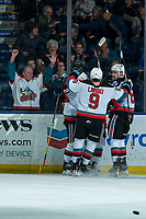 KELOWNA, BC - FEBRUARY 8:  The Kelowna Rockets celebrate a goal with fans against the Portland Winterhawks at Prospera Place on February 8, 2020 in Kelowna, Canada. (Photo by Marissa Baecker/Shoot the Breeze)