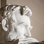 Close-up detail of the statue of President Abraham Lincoln that sits in the Lincoln Memorial in Washington DC.