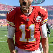 Kansas City Chiefs quarterback Alex Smith (11) shouted in celebration after his two-yard touchdown run in overtime won the game, 33-27, over the San Diego Chargers on September 11, 2016 at Arrowhead Stadium in Kansas City, Mo.