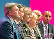 © Licensed to London News Pictures. 22/09/2014. Manchester, UK. Ed Balls, Ed Miliband, Harriet Harmen, Angela Eagle, Keith Vas, Chuka Umunna onstage.  Labour Party Conference 2014 at the Manchester Convention Centre today 22 September 2014. Photo credit : Stephen Simpson/LNP