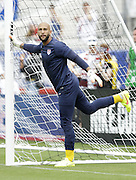 JACKSONVILLE, FL - JUNE 07:  Goalie Tim Howard #1 of the United States stretches before the international friendly match against Nigeria at EverBank Field on June 7, 2014 in Jacksonville, Florida.  (Photo by Mike Zarrilli/Getty Images)