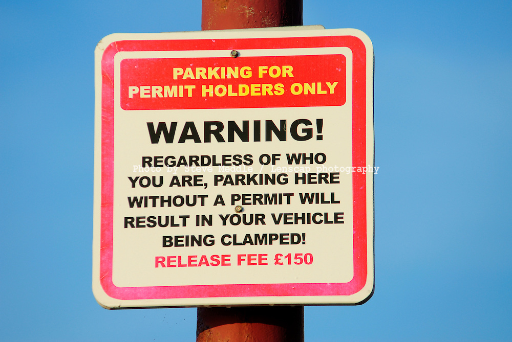 Warning Signs in Street for Parking - 2010
