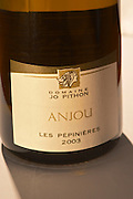 A bottle Les Pepinieres 2003 by Domaine Jo Pithon, Anjou, close-up of the label - Loire Valley, France