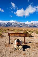 Sad Asian Tourist at R.A. Wilder Farm, Manzanar NHS, Independence, California