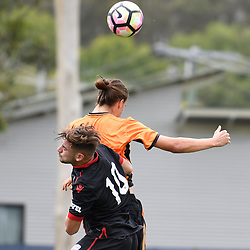 BRISBANE, AUSTRALIA - DECEMBER 10: Marc Marino of Adelaide United and Aaron Reardon of the Roar compete for the ball during the round 5 Foxtel National Youth League match between the Brisbane Roar and Adelaide United at AJ Kelly Field on December 10, 2016 in Brisbane, Australia. (Photo by Patrick Kearney/Brisbane Roar)