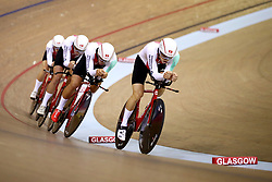 Switzerland Men Team Pursuit led by Frank Pasche in qualifying during day one of the 2018 European Championships at the Sir Chris Hoy Velodrome, Glasgow. PRESS ASSOCIATION Photo. Picture date: Thursday August 2, 2018. See PA story SPORT European. Photo credit should read: John Walton/PA Wire. RESTRICTIONS: Editorial use only, no commercial use without prior permissionduring day one of the 2018 European Championships at the Sir Chris Hoy Velodrome, Glasgow. PRESS ASSOCIATION Photo. Picture date: Thursday August 2, 2018. See PA story SPORT European. Photo credit should read: John Walton/PA Wire. RESTRICTIONS: Editorial use only, no commercial use without prior permission