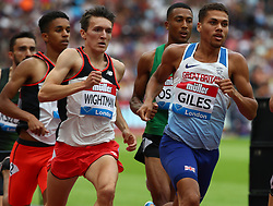 July 22, 2018 - London, United Kingdom - L-R Jake Wightman and Elliot Giles of Great Britain Compete in the 800m Men during the Muller Anniversary Games IAAF Diamond League Day Two at The London Stadium on July 22, 2018 in London, England. (Credit Image: © Action Foto Sport/NurPhoto via ZUMA Press)