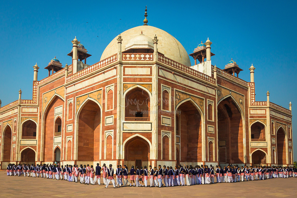 Humayun's tomb is the tomb of the Mughal Emperor Humayun. The tomb was commissioned by Humayun's first wife Bega Begum in 1569-70, and designed by Mirak Mirza Ghiyas, a Persian architect chosen by Bega Begum. It was the first garden-tomb on the Indian subcontinent, and is located in Nizamuddin East, Delhi, India, close to the Dina-panah citadel also known as Purana Qila (Old Fort), that Humayun founded in 1533. It was also the first structure to use red sandstone at such a scale. The tomb was declared a UNESCO World Heritage Site in 1993, and since then has undergone extensive restoration work, which is complete. Besides the main tomb enclosure of Humayun, several smaller monuments dot the pathway leading up to it, from the main entrance in the West, including one that even pre-dates the main tomb itself, by twenty years; it is the tomb complex of Isa Khan Niyazi, an Afghan noble in Sher Shah Suri's court of the Suri dynasty, who fought against the Mughals, constructed in 1547 CE.<br /> .....<br /> The complex encompasses the main tomb of the Emperor Humayun, which houses the graves of Bega Begum herself, Hamida Begum, and also Dara Shikoh, great great grandson of Humayun and son of the later Emperor Shah Jahan, as well as numerous other subsequent Mughals, including Emperor Jahandar Shah, Farrukhsiyar, Rafi Ul-Darjat, Rafi Ud-Daulat and Alamgir II. It represented a leap in Mughal architecture, and together with its accomplished Charbagh garden, typical of Persian gardens, but never seen before in India, it set a precedent for subsequent Mughal architecture. It is seen as a clear departure from the fairly modest mausoleum of his father, the first Mughal Emperor, Babur, called Bagh-e Babur (Gardens of Babur) in Kabul (Afghanistan). Though the latter was the first Emperor to start the tradition of being buried in a paradise garden. Modelled on Gur-e Amir, the tomb of his ancestor and Asia's conqueror Timur in Samarkand, it created a precedent for future Mughal archite