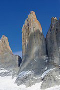 The granite spires of the Torres del Paine from the west  looking across the Torres Glacier  from the Mirador Las Torres. Torre Sur is on the left then Torre Central then Torre Nord. Torres del Paine National Park, Republic of Chile 18Feb13