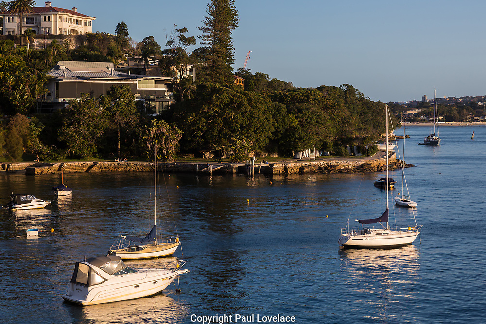 Photos of Milk Beach, yachts moored and the Hermitage Foreshore Track, Sydney, Australia.