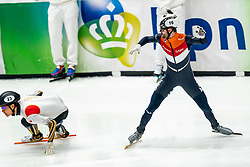 / in action on the 2000 meter mixed relay during ISU World Cup Finals Shorttrack 2020 on February 14, 2020 in Optisport Sportboulevard Dordrecht.