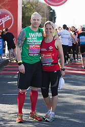 © Licensed to London News Pictures. 21/04/2013. London, England. Picture: Iwan Thomas and Sophie Raworth. Celebrity Runners at a photocall before the start of the Virgin London Marathon 2013 race. Many wore black ribbons to pay their respect for those who died or were injured in the Boston Marathon. Photo credit: Bettina Strenske/LNP