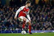 Shkordran Mustafi of Arsenal in action. Carabao Cup , semi final 1st leg match, Chelsea v Arsenal at Stamford Bridge in London on Wednesday 10th January 2018.<br /> pic by Steffan Bowen, Andrew Orchard sports photography.
