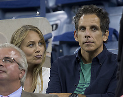 Sept. 3, 2014 - Flushing Meadows, New York, U.S - Ben Stiller and his wife Christine Taylor watch Novak Djokovic play Andy Murray on Day Ten of the 2014 US Open at the USTA Billie Jean King National Tennis Center on Wednesday September 3, 2014 in Flushing Meadows, New York. (Credit Image: © Prensa Internacional/ZUMA Wire)
