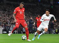 Football - 2019 / 2020 UEFA Champions League - Group B: Tottenham Hotspur vs. Bayern Munich<br /> <br /> Jerome Boateng of Bayern Munich and Heung - Min Son of Tottenham , at The Tottenham Hotspur Stadium.<br /> <br /> COLORSPORT/ANDREW COWIE