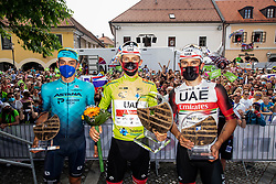 Overall third placed Matteo SOBRERO of ASTANA - PREMIER TECH, winner Tadej POGACAR of UAE TEAM EMIRATES and second placed Diego ULISSI of UAE TEAM EMIRATES celebrate at trophy ceremony during the 5th Stage of 27th Tour of Slovenia 2021 cycling race between Ljubljana and Novo mesto (175,3 km), on June 13, 2021 in Slovenia. Photo by Vid Ponikvar / Sportida