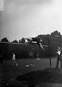 21/09/1957<br /> 09/21/1957<br /> 21 September 1957<br /> Athletics - Ireland V Scotland in College Park, Trinity College, Dublin.  The High Jump.