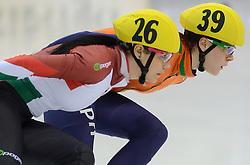 17-01-2014 SHORTTRACK: ISU EUROPEAN CHAMPIONSHIPS: DRESDEN<br /> In het EnergieVerbund Arena wordt het EK Shorttrack gehouden / Jorien ter Mors (NED) wordt Europees Kampioen op de 1500 meter in een mooi gevecht met de Hongaarse Bernadett Heidum die het zilver pakte.<br /> ©2014-FotoHoogendoorn.nl