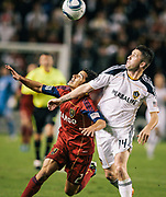 during the second half of the Western Conference Championship soccer match, Sunday, Nov. 6, 2011, in Carson, Calif. The Galaxy won 3-1. (AP Photo/Bret Hartman)