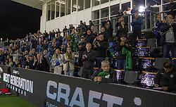 Klapsalver fra tilskuerne efter kampen i 1. Division mellem FC Helsingør og Silkeborg IF den 11. september 2020 på Helsingør Stadion (Foto: Claus Birch).