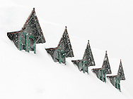 five gables of the snowed-in Paradise Inn during a snowstorm at Mount Rainier National Park, Washington, USA