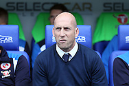 Jaap Stam, the Reading manager looks on from the dugout .EFL Skybet  championship match, Reading  v Huddersfield Town at The Madejski Stadium in Reading, Berkshire on Saturday 24th September 2016.<br /> pic by John Patrick Fletcher, Andrew Orchard sports photography.