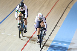 March 2, 2018 - Apeldoorn, Netherlands - Gold medalist Germany's Kristina Vogel rides ahead of Silver medalist Australia's Stephanie Morto during the women's sprint final during the UCI Track Cycling World Championships in Apeldoorn on March 2, 2018. (Credit Image: © Foto Olimpik/NurPhoto via ZUMA Press)