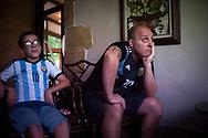 Argentinian football fans watch their national team's Russia 2018 World Cup Group D match against Croatia in a bar. Irun (Basque Country). June 21, 2018. (Gari Garaialde / BostokPhoto)