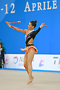 García Natalia Timofeeva during qualifying at clubs in Pesaro World Cup 11 April 2015. Natalia is a Spanish rhythmic gymnastics athlete born in Barcelona Spain on  August 5, 1994.