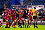 Mike Willemse (#2) of Edinburgh Rugby is congratulated by his team mates after he scores Edinburgh's third try during the Guinness Pro 14 2019_20 match between Edinburgh Rugby and Scarlets at BT Murrayfield Stadium, Edinburgh, Scotland on 26 October 2019.