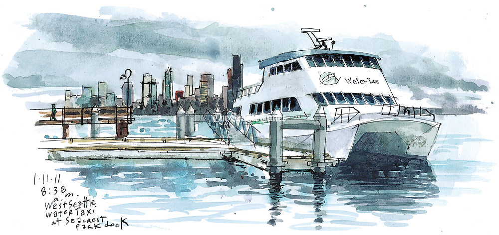 The West Seattle Water Taxi docked at Seacrest Park dock connects the downtown Seattle waterfront and West Seattle.<br /> <br /> Gabriel Campanario / The Seattle Times