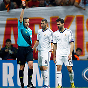 Referee's Stephane Lannoy show the red card to Real Madrid's Álvaro Arbeloa (R) during their UEFA Champions League Quarter-finals, Second leg match Galatasaray between Real Madrid at the TT Arena AliSamiYen Spor Kompleksi in Istanbul, Turkey on Tuesday 09 April 2013. Photo by Aykut AKICI/TURKPIX