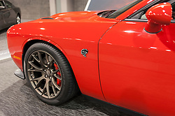 CHARLOTTE, NC, USA - November 11, 2015: Dodge Challenger SRT Hell Cat on display during the 2015 Charlotte International Auto Show at the Charlotte Convention Center in downtown Charlotte.