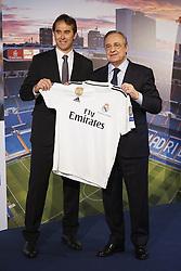 June 14, 2018 - Madrid, Spain - Julen Lopetegui the new head coach of Real Madrid  poses with Florentino Perez, President of Real Madrid at Santiago Bernabeu Stadium on June 14, 2018 in Madrid, Spain. (Credit Image: © Oscar Gonzalez/NurPhoto via ZUMA Press)