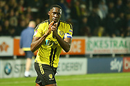 Burton Albion forward Lucas Akins (10) celebrates the 1-0 win after the final whistle during the EFL Sky Bet League 1 match between Burton Albion and Coventry City at the Pirelli Stadium, Burton upon Trent, England on 17 November 2018.