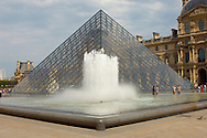 Glass pyramid entrance of the Louvre Paris .<br /> <br /> Visit our FRANCE HISTORIC PLACES PHOTO COLLECTIONS for more photos to download or buy as wall art prints https://funkystock.photoshelter.com/gallery-collection/Pictures-Images-of-France-Photos-of-French-Historic-Landmark-Sites/C0000pDRcOaIqj8E