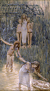 Pharaoh's Daughter had Moses Brought to Her [Book of Exodus] Gouache paint on cardboard by James Tissot  1896-1902