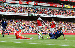 Edward Nketiah of Arsenal sees his shot saved by Anthony Racioppi of Lyon - Mandatory by-line: Arron Gent/JMP - 28/07/2019 - FOOTBALL - Emirates Stadium - London, England - Arsenal v Olympique Lyonnais - Emirates Cup
