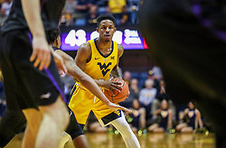 Mar 20, 2019; Morgantown, WV, USA; West Virginia Mountaineers guard Brandon Knapper (2) looks to pass during the second half against the Grand Canyon Antelopes at WVU Coliseum. Mandatory Credit: Ben Queen
