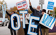 5 NOV. 2018 -- St. Louis -- Members of the group Your Vote Matters encourage people to vote before an event hosted by US Senator Claire McCaskill as she campaigns for the US Senate in Saint Louis Monday, Nov. 5, 2018. McCaskill, a Democrat, faces a challenge from Republican Missouri Attorney General Josh Hawley in the Nov. 6 general election. Photo © copyright 2018 Sid Hastings.