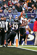 Cincinnati Bengals wide receiver John Ross (15) leaps and catches a 22 yard touchdown pass good for a 21-13 third quarter Bengals lead while covered tightly by Baltimore Ravens cornerback Marlon Humphrey (29) during the NFL week 11 regular season football game against the Baltimore Ravens on Sunday, Nov. 18, 2018 in Baltimore. The Ravens won the game 24-21. (©Paul Anthony Spinelli)