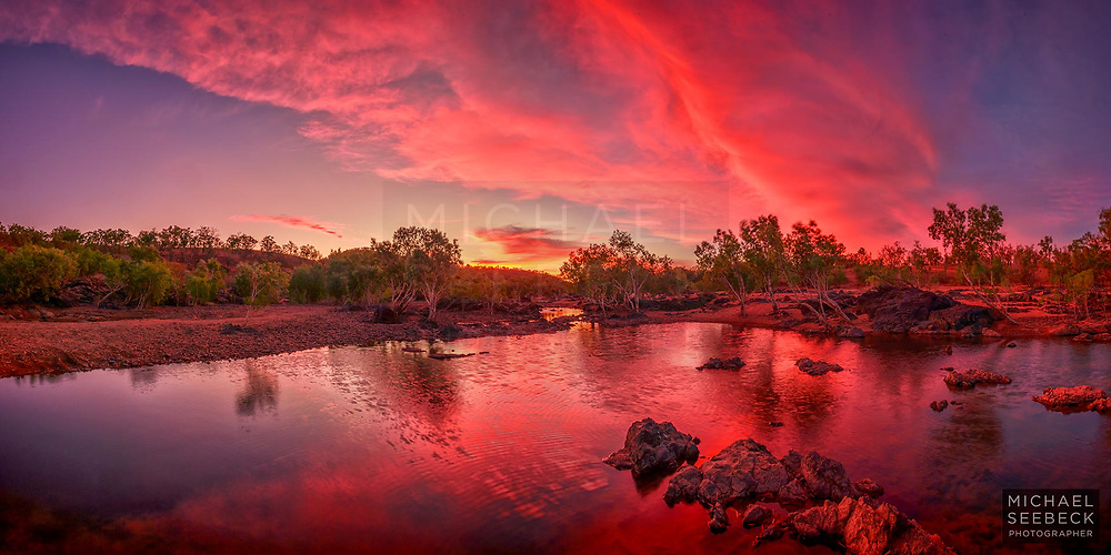 A beautiful sunset reflected in the waters of the Walsh River, near Chillagoe.<br /> <br /> Code:BAQP0001<br /> <br /> Limited Edition of 125