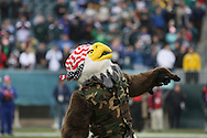"""PHILADELPHIA - DECEMBER 9: Philadelphia Eagles """"Swoop"""" wearing military garb in honor of the armed services before the game against the New York Giants on December 9, 2007 at Lincoln Financial Field in Philadelphia, Pennsylvania. The Giants won 16-13."""